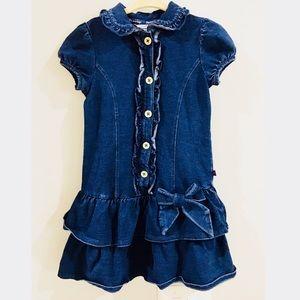 Hartstrings Girls Denim Ruffle Dress Size 4